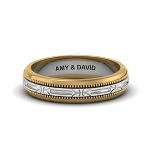 Engraved Milgrain 2 Tone Band