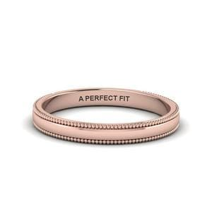 Classic Milgrain Thin Wedding Band In 18K Rose Gold