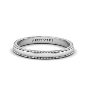 Classic Milgrain Thin Wedding Band In 18K White Gold