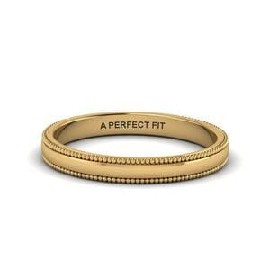 Classic Milgrain Thin Wedding Band In 18K Yellow Gold
