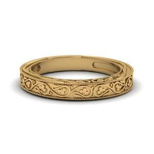Engraved Filigree Vintage Wedding Band In 14K Yellow Gold