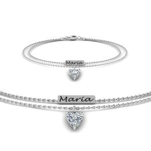 Engraved Mom Bracelet With Diamond In 14K White Gold