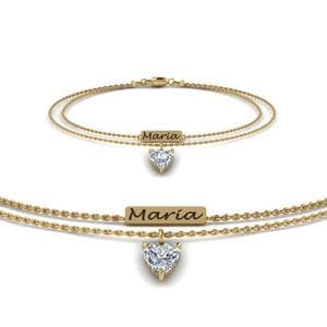 Engraved Mom Bracelet With Diamond In 14K Yellow Gold