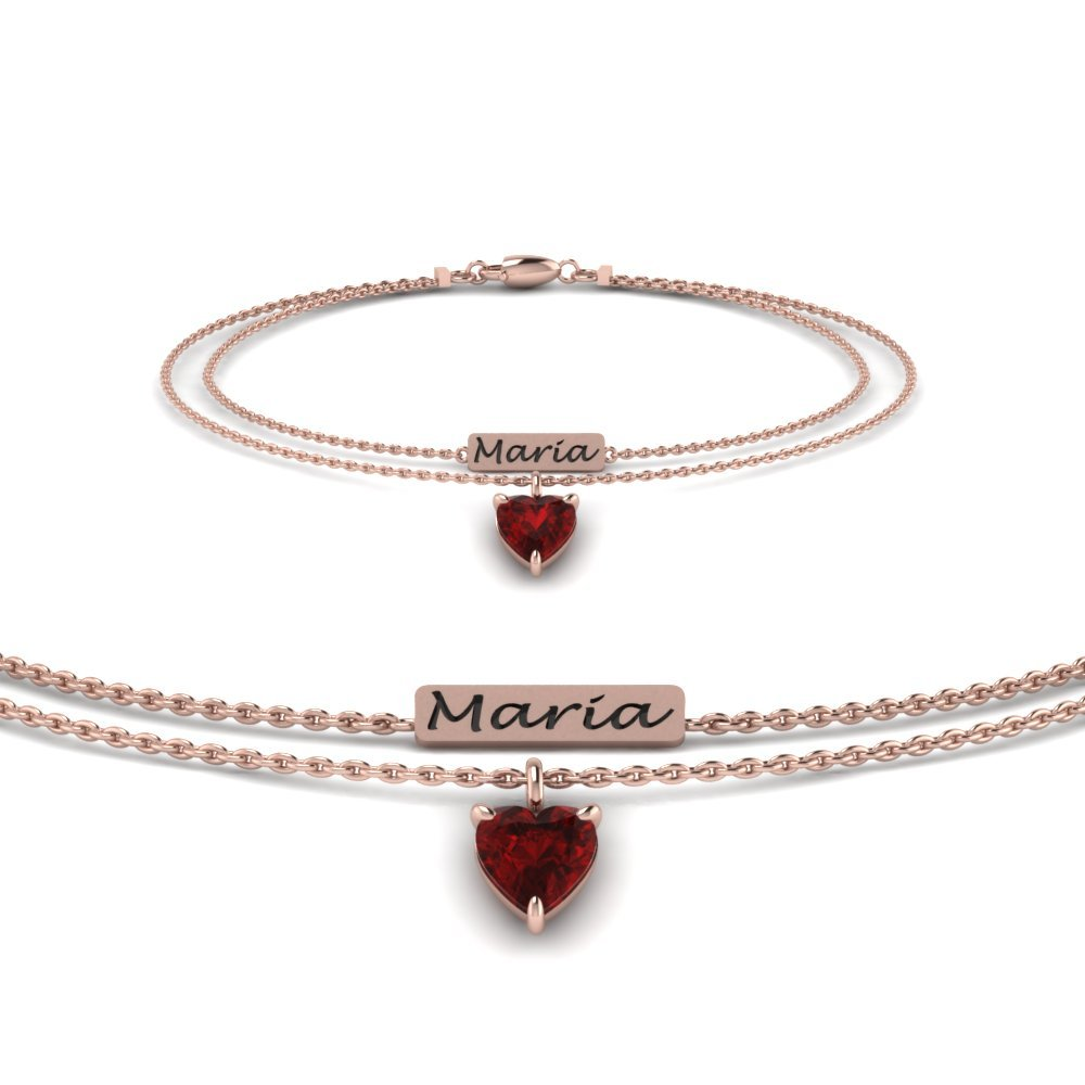 Engraved Mom Bracelet With Ruby