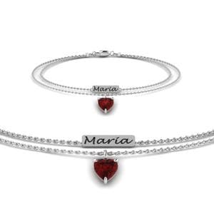 Engraved Mom Bracelet With Ruby In 14K White Gold
