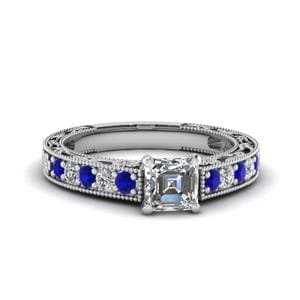 Engraved Pave Asscher Diamond Engagement Ring With Sapphire In 14K White Gold
