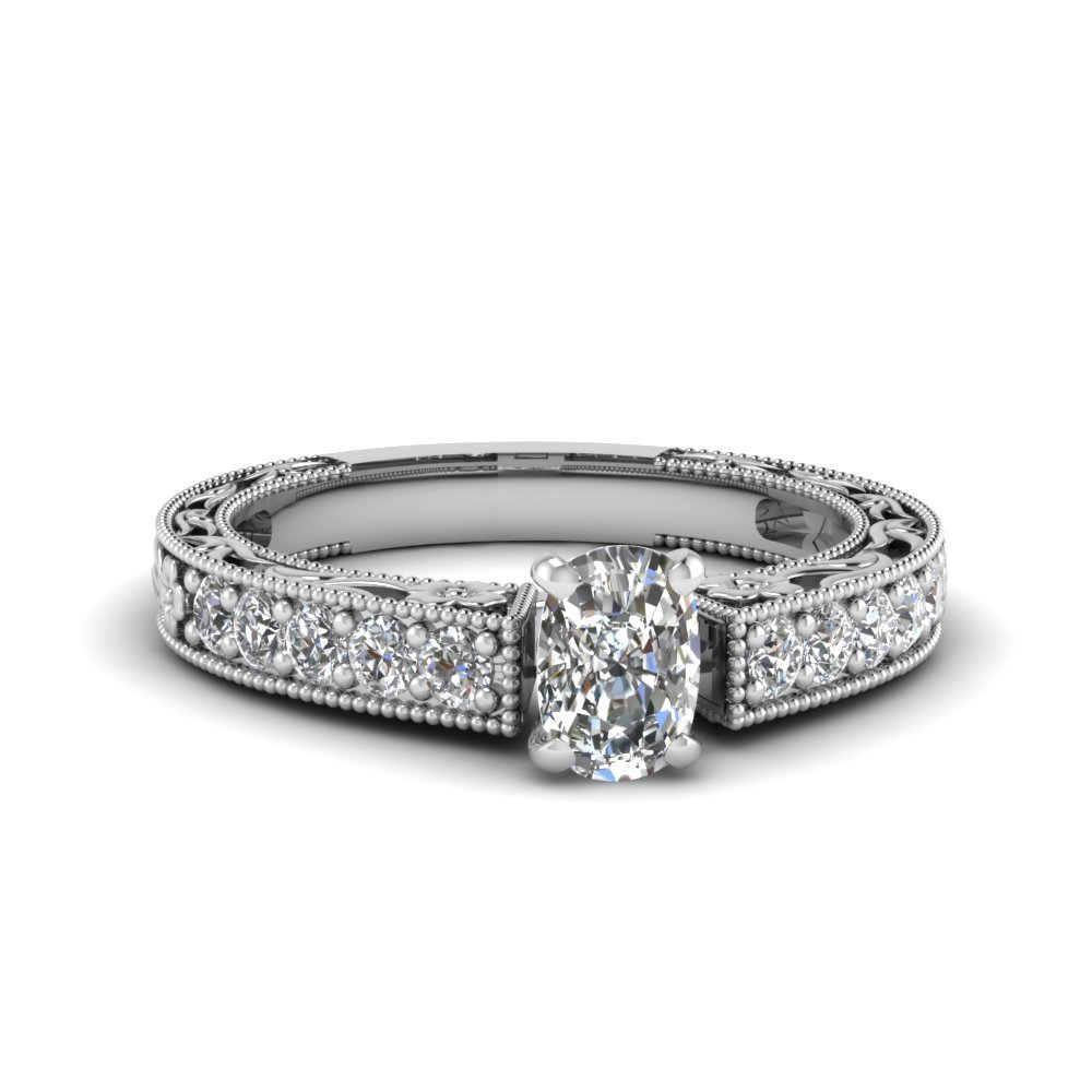 3/4 Carat Diamond Pave cushion cut Vintage Ring