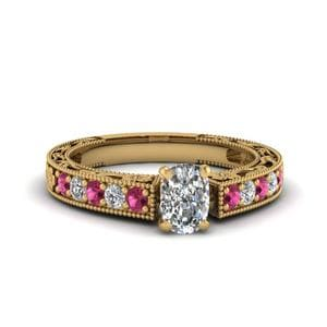 Engraved Pave Cushion Diamond Engagement Ring With Pink Sapphire In 14K Yellow Gold