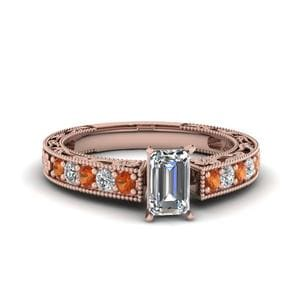 Engraved Pave Emerald Cut Diamond Engagement Ring With Orange Sapphire In 18K Rose Gold