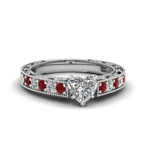 Engraved Pave Heart Diamond Engagement Ring With Ruby In 18K White Gold