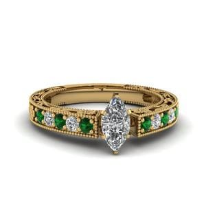 Engraved Pave Marquise Diamond Engagement Ring With Emerald In 18K Yellow Gold