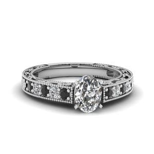 Engraved Pave Oval Engagement Ring With Black Diamond In 950 Platinum
