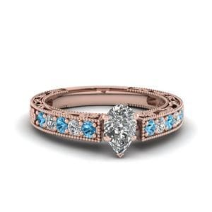 Engraved Pave Pear Diamond Engagement Ring With Blue Topaz In 14K Rose Gold