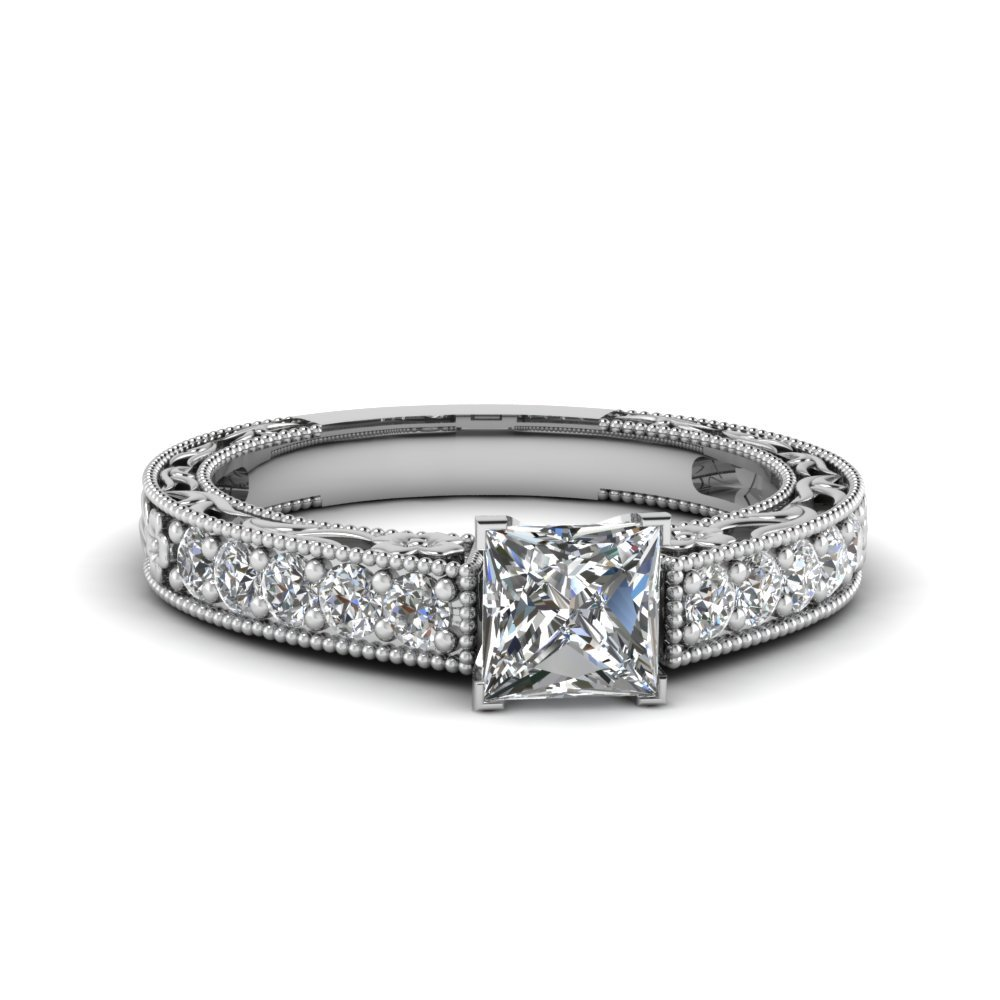 0.75 Carat Diamond Pave princess cut Vintage Ring