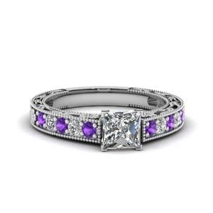 Engraved Pave Princess Cut Diamond Engagement Ring With Violet Topaz In 14K White Gold