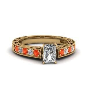 Engraved Pave Radiant Diamond Engagement Ring With Orange Topaz In 14K Yellow Gold