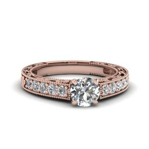 Engraved Pave Round Diamond Engagement Ring In 14K Rose Gold