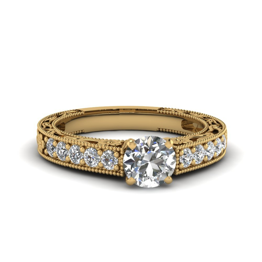 Engraved Pave Round Diamond Engagement Ring In 18K Yellow Gold