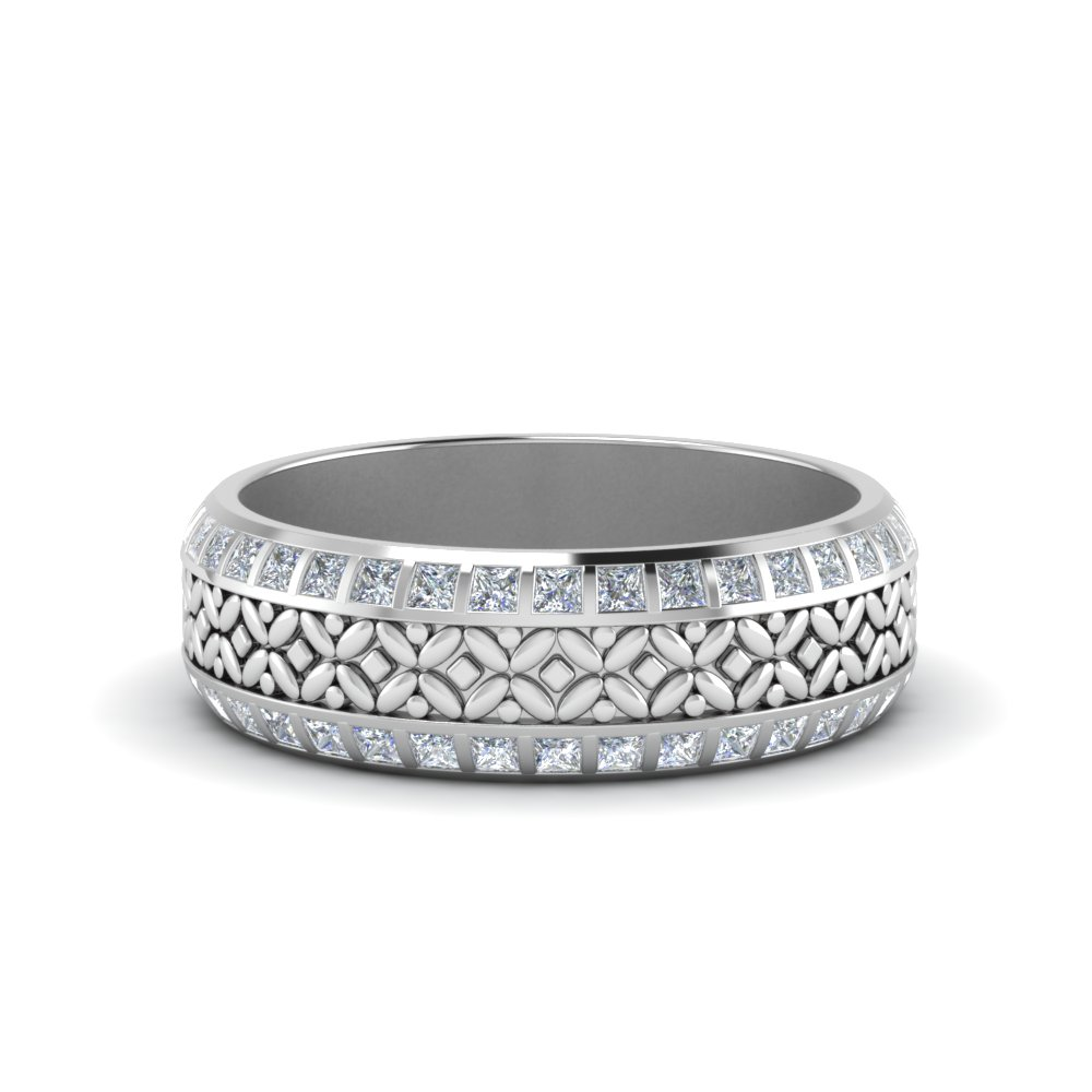 Engraved Princess Cut Wide Eternity Band In 14K White Gold