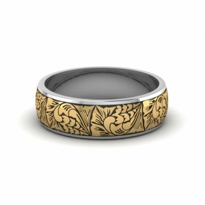 Engraved Two Tone Wedding Band