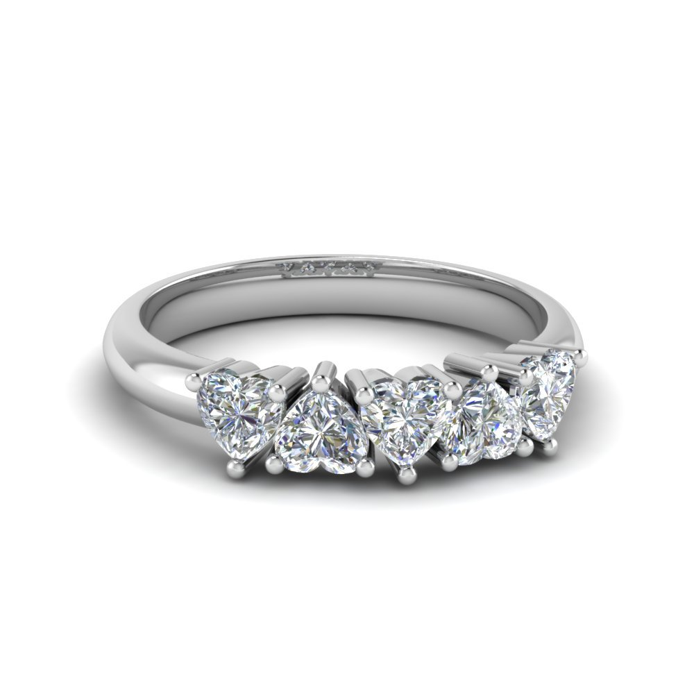 Exclusive 5 Stone Heart Shaped Anniversary Band In 18K White Gold