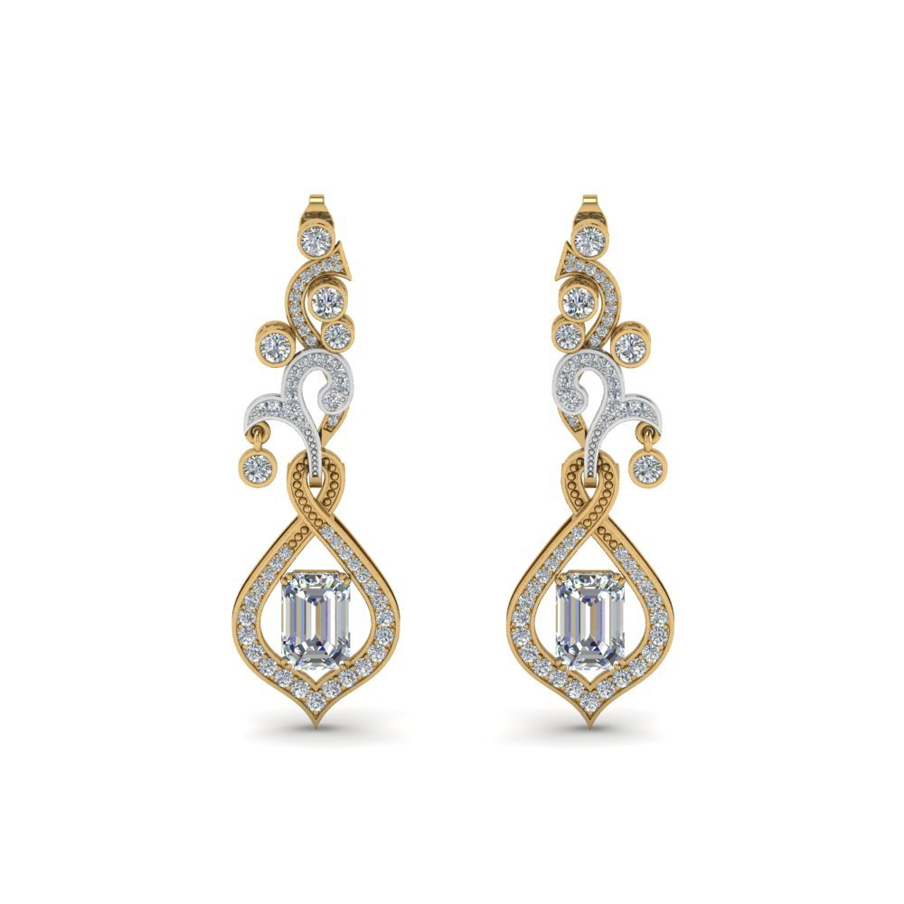 Exclusive Diamond Drop Earring For Mom In 18K Yellow Gold