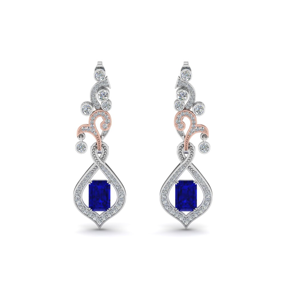 Exclusive Diamond Drop Earring For Mom With Sapphire In 14K White Gold