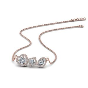 Fancy Diamond Halo Necklace In 14K Rose Gold