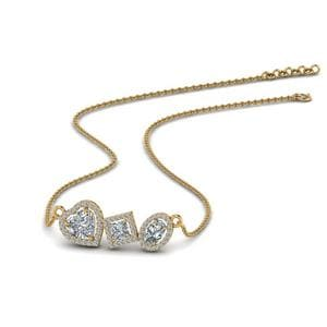 Fancy Diamond Halo Necklace In 14K Yellow Gold