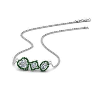 Fancy Emerald Halo Necklace