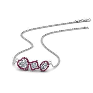 Halo Pink Sapphire Necklace