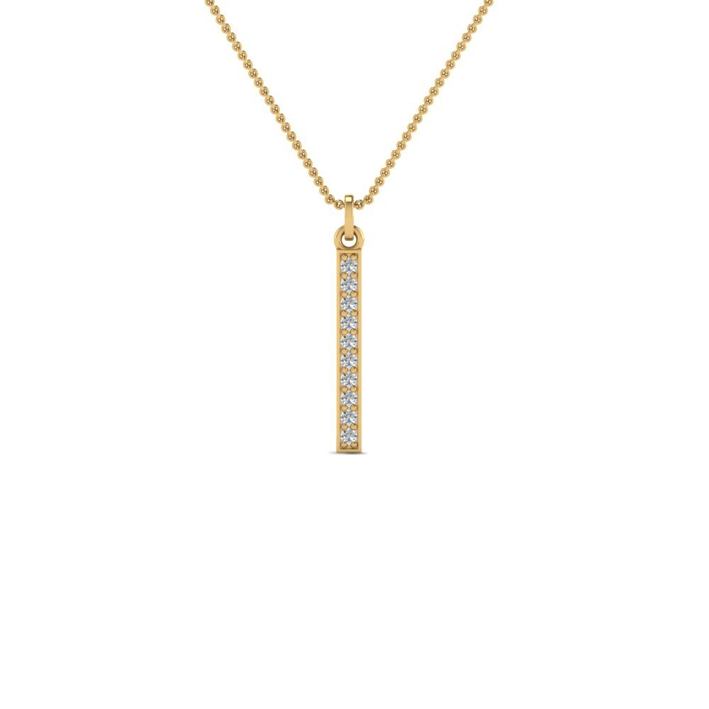 Fancy Pave Straight Bar Diamond Necklace Pendant In 14K Yellow Gold