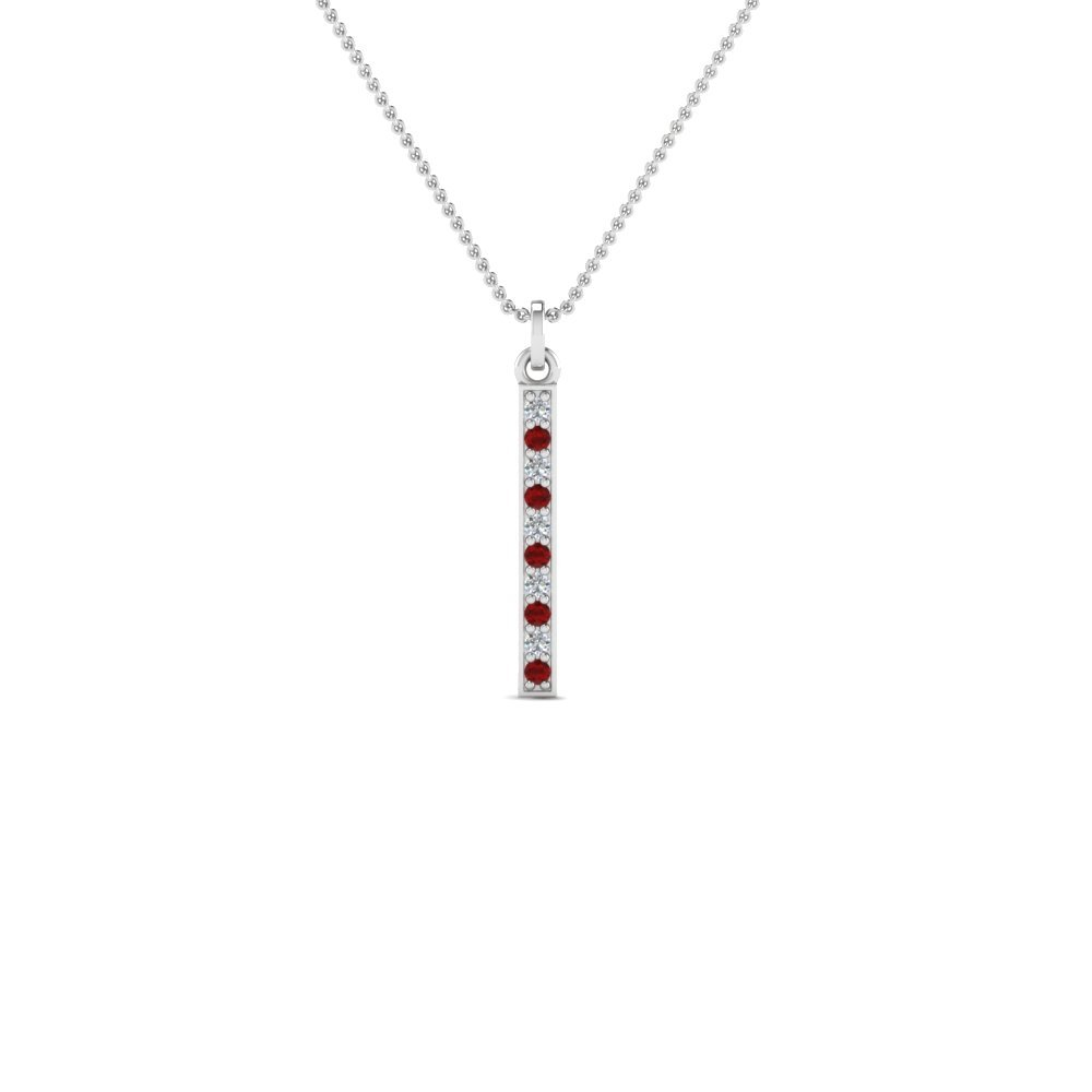 Pave Straight Bar Ruby Necklace