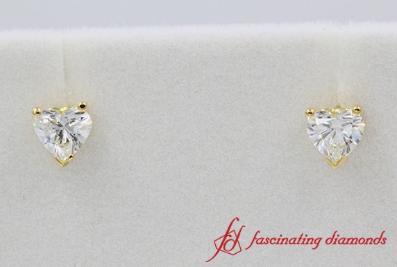 Heart Cut Diamond Stud Earring
