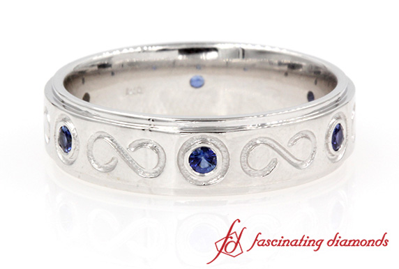 Sapphire Band With Infinity Design