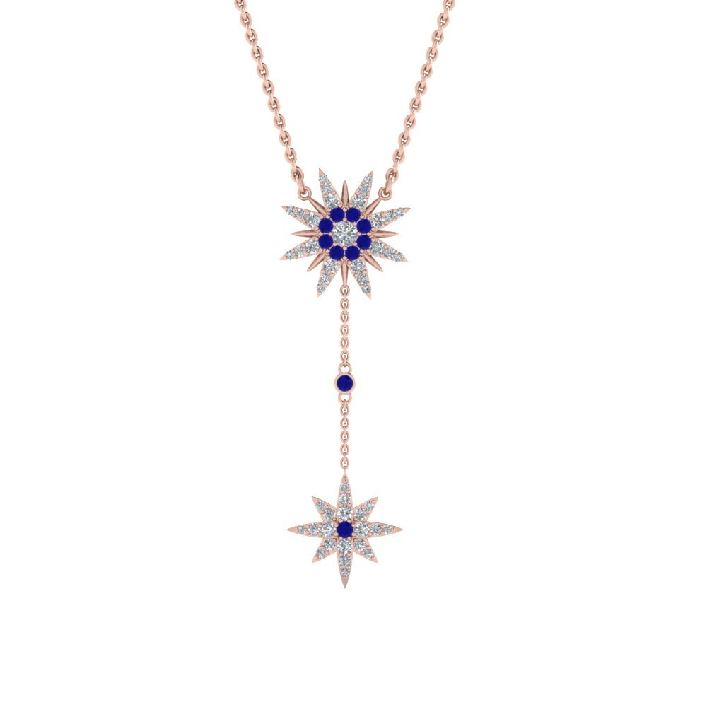 Sapphire Star Drop Necklace