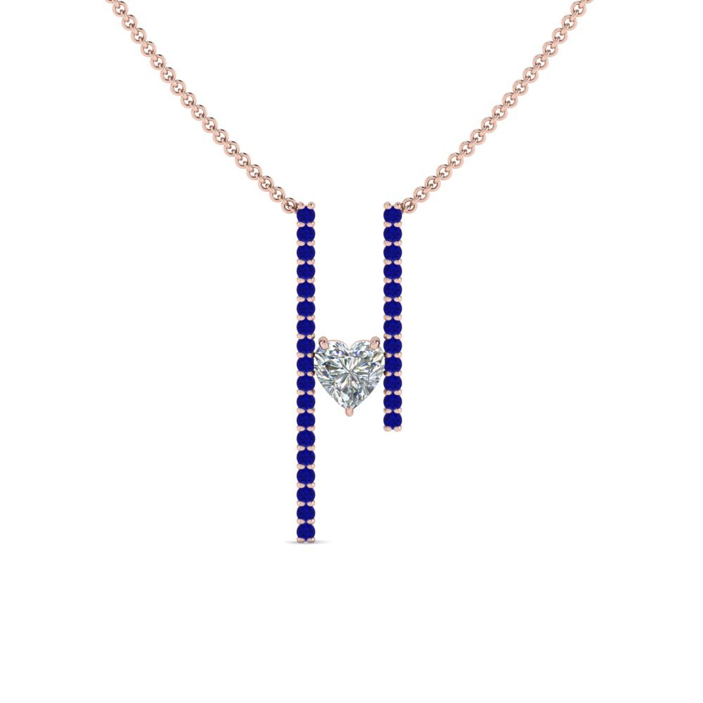 Floating Heart Sapphire Bar Necklace
