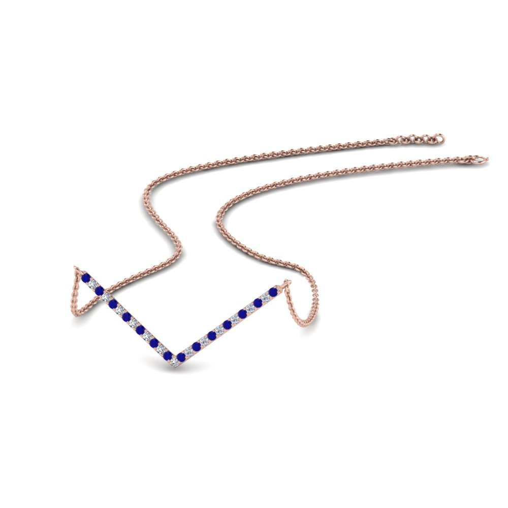 V Shaped Sapphire Necklace