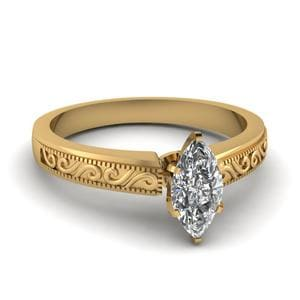 Filigree 0.75 Ct. Marquise Diamond Engagement Ring In 18K Yellow Gold
