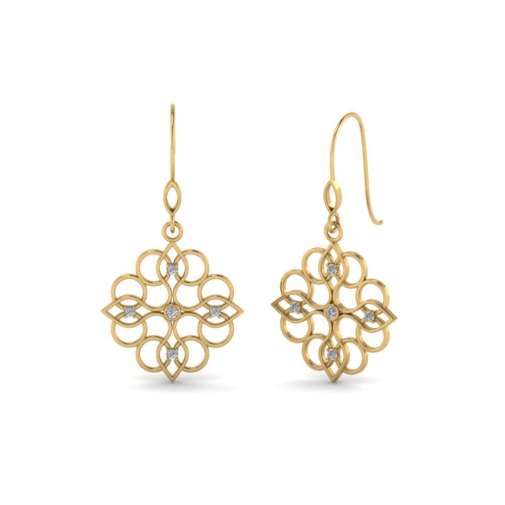 Filigree Dangle Drop Earring Diamonds In 14K Yellow Gold