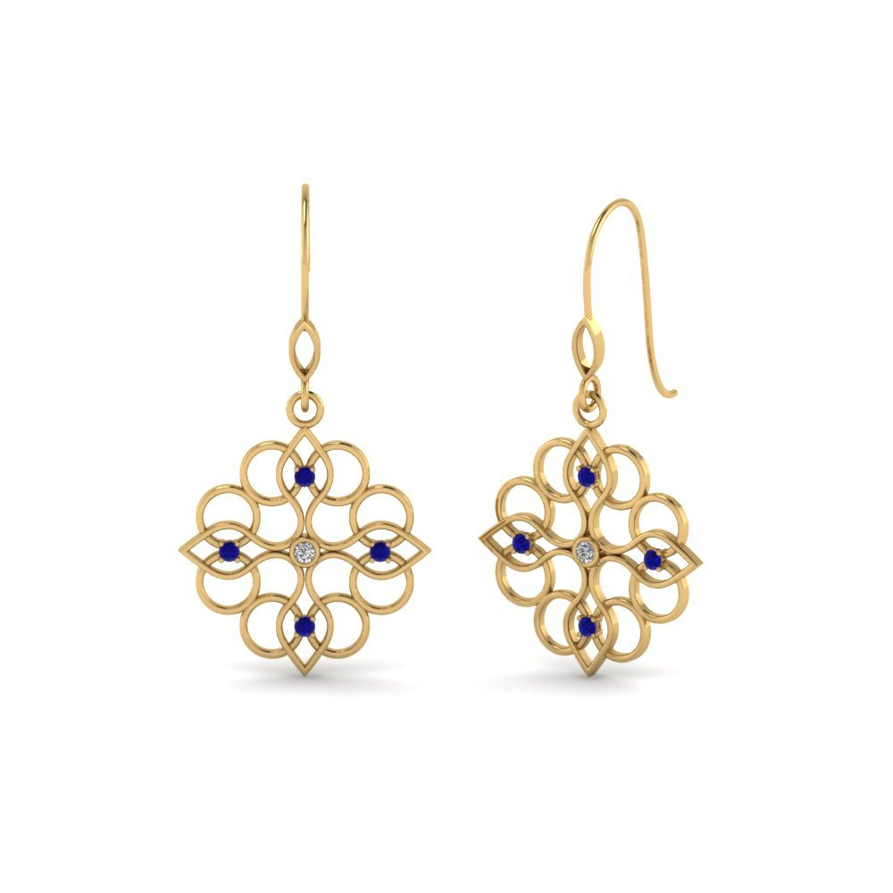 Filigree Dangle Drop Earring Diamonds With Sapphire In 14K Yellow Gold