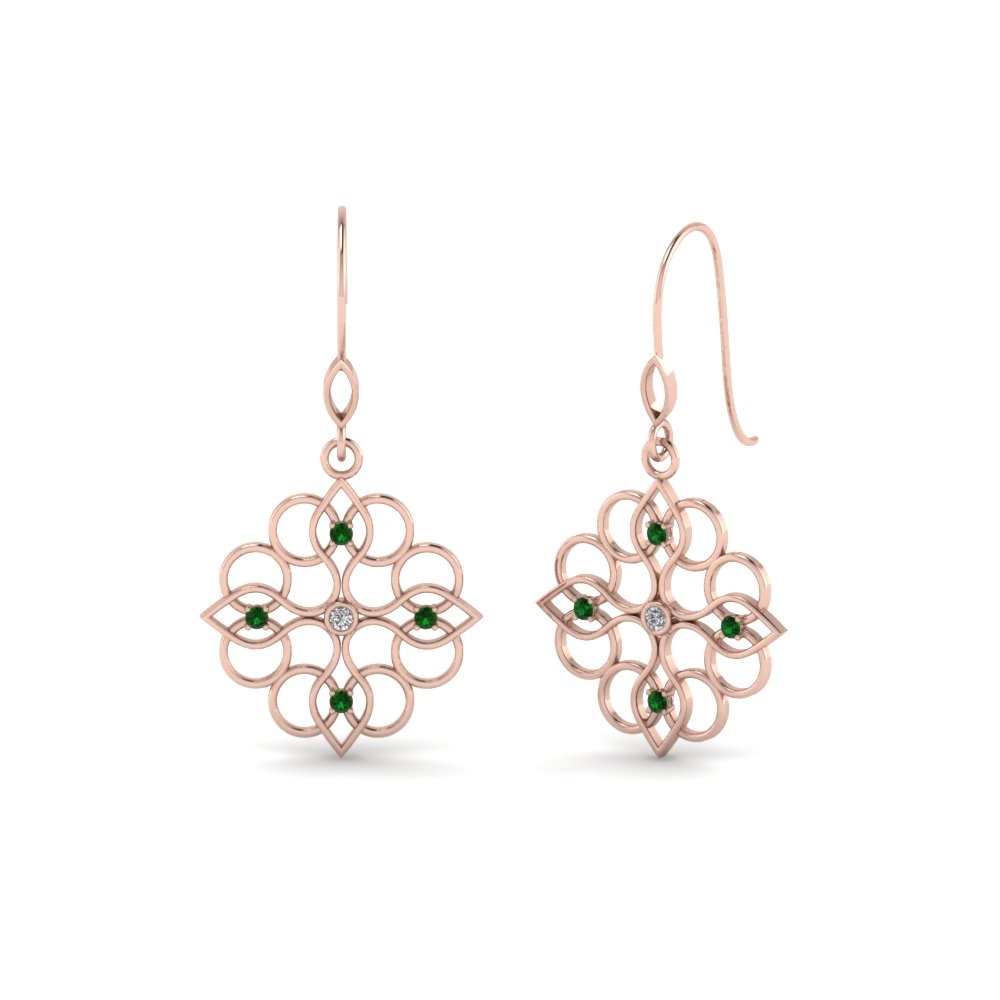 Filigree Dangle Drop Earring Diamonds With Emerald In 14K Rose Gold