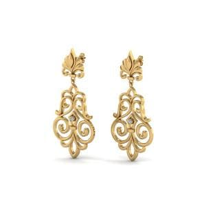 Filigree Dangle Drop Earring In 18K Yellow Gold