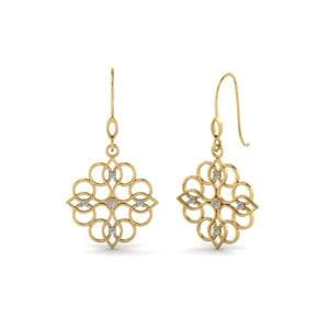 Filigree Dangle Round Cut Diamond Earring In 14K Yellow Gold