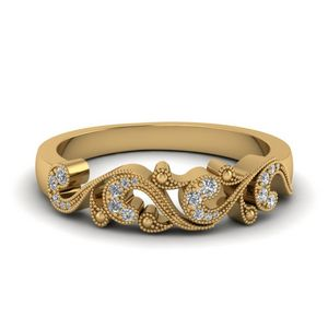 Filigree Diamond Band For Women In 14K Yellow Gold