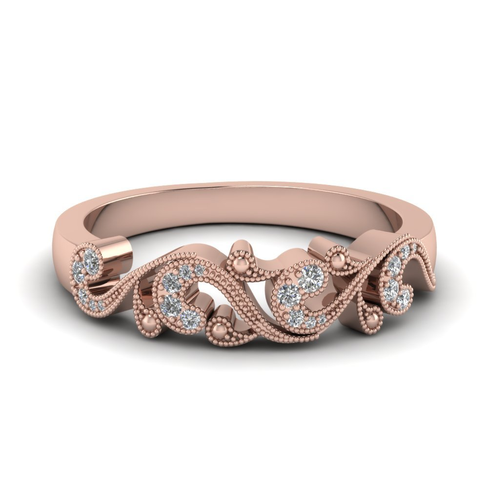 Filigree Diamond Band For Women In 18K Rose Gold