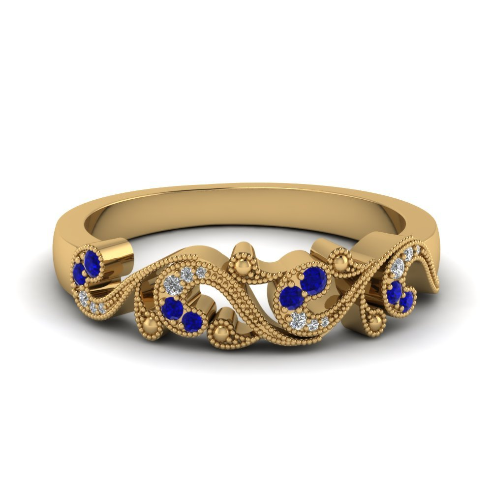 Filigree Diamond sapphire Band For Women