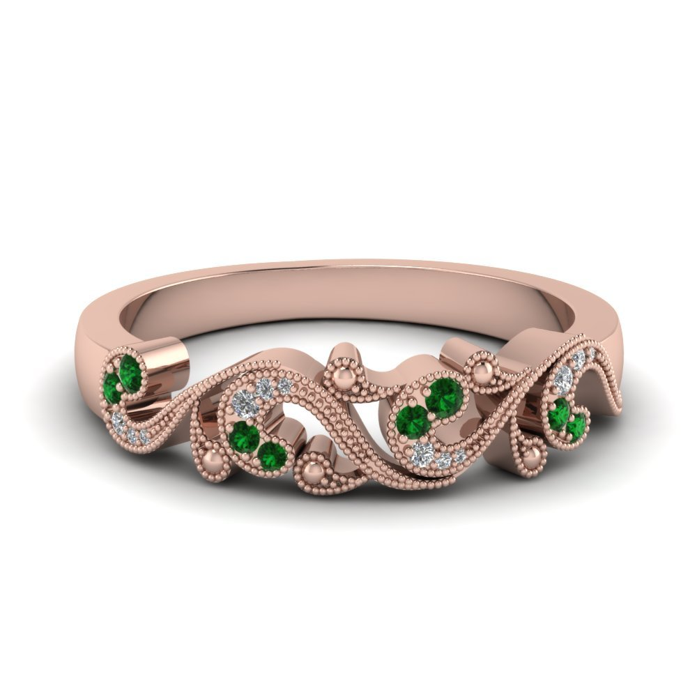 Emerald Rose Gold Antique Band
