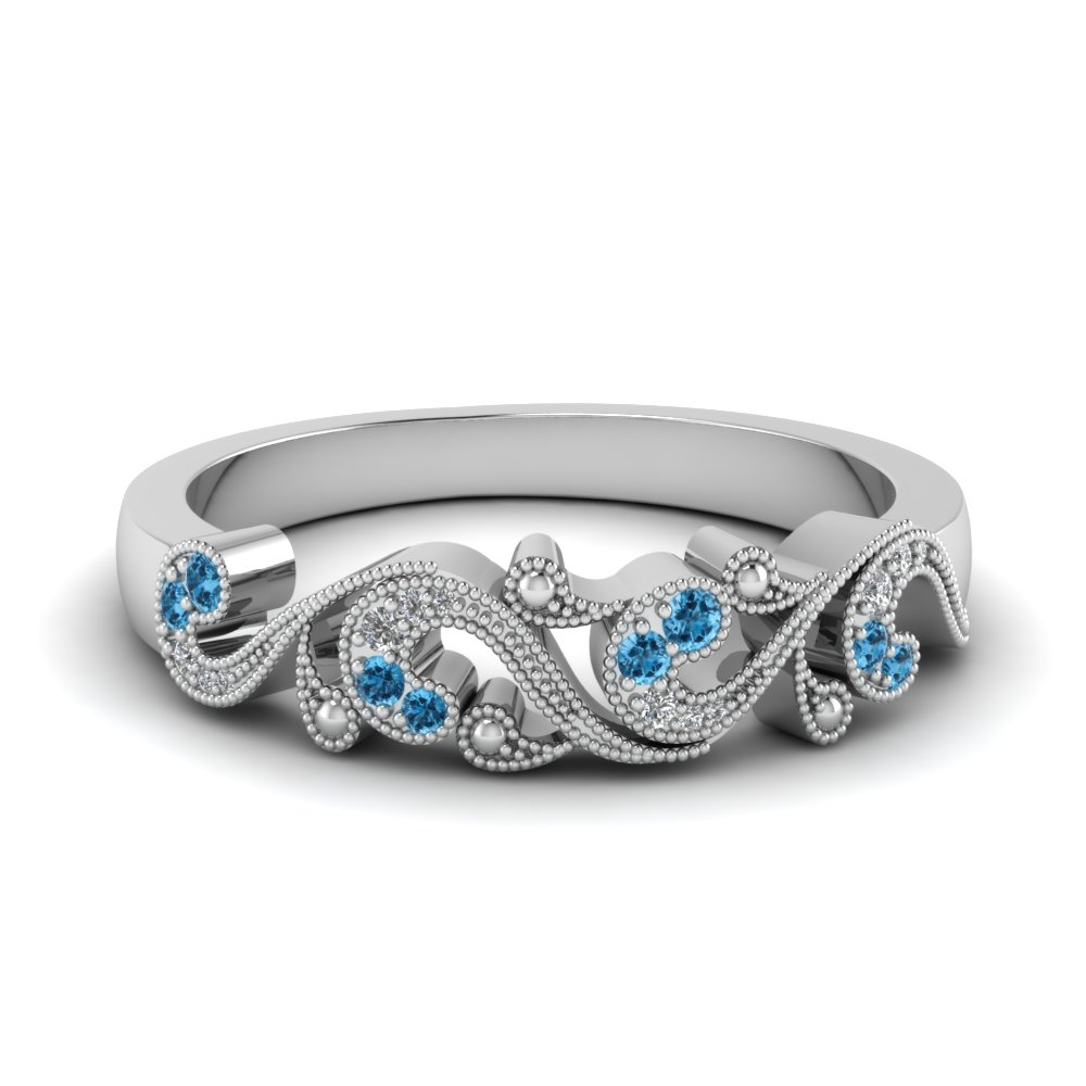 Filigree Wedding Band With Topaz
