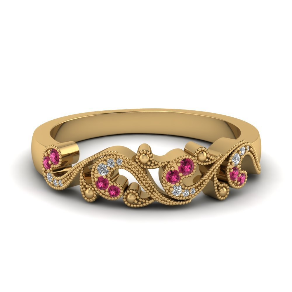 Pink Sapphire Yellow Gold Band